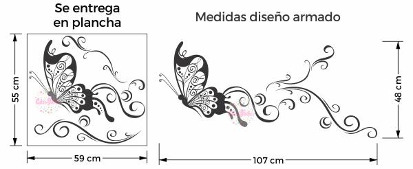 vinilo decorativo mariposa ornamental floral pared