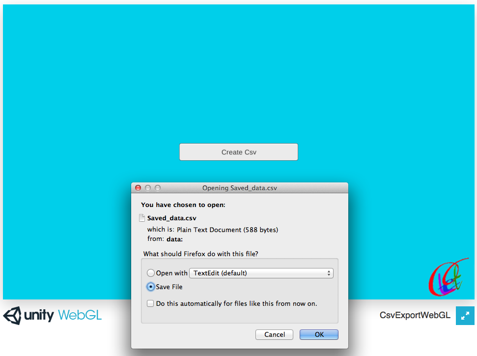 Export csv data from Unity WebGL | LetC