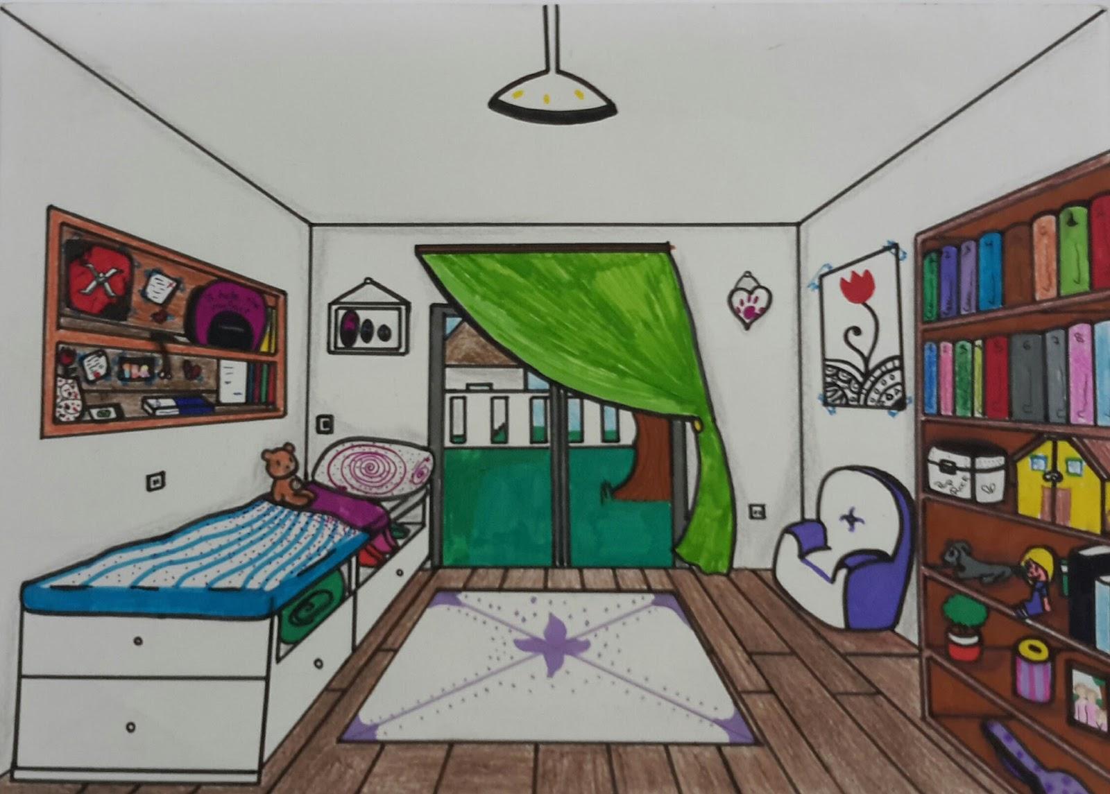 Comp s y color habitaciones en perspectiva c nica - Habitacion en perspectiva conica ...