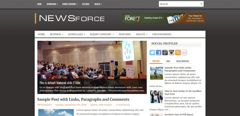 NewsForce Free Blogger Template