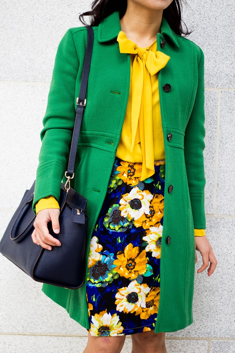 9e7033afe7 J. Crew Double-cloth Lady Day Coat with Thinsulate® | Zara Shirt with Bow  Collar | Forever 21 Watercolor Floral Pencil Skirt | MICHAEL by Michael  Kors Selma ...
