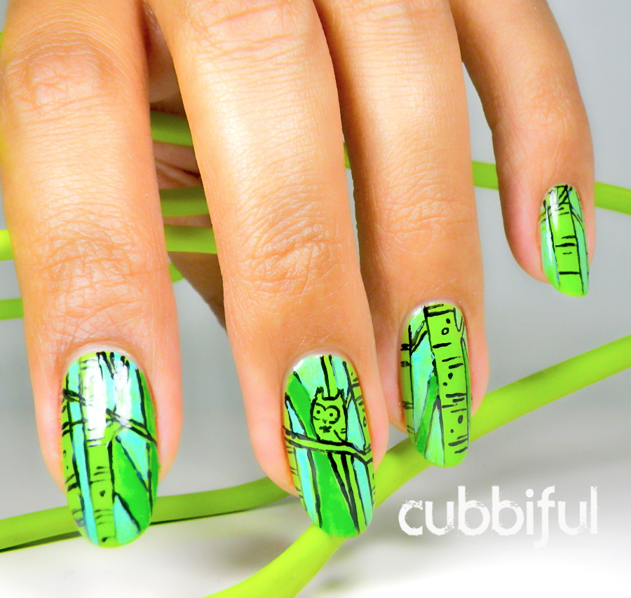 cute owl nails in green for 31DC2014