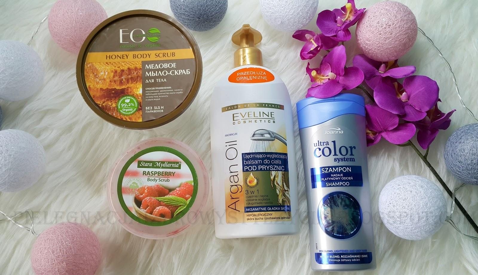 Denko - miodowe mydło Ecolab, peeling Stara Mydlarnia, balsam Eveline, fioletowy szampon Joanna