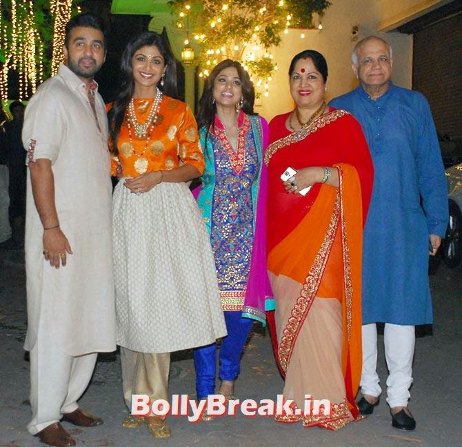 Raj Kundra, Shilpa, Shamita, Surendra and Sunanda Shetty, Shilpa Shetty's Diwali Bash 2014 Photos