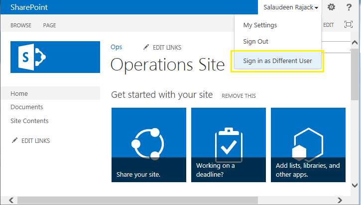 enable sign in as different user sharepoint 2013