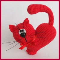 Gato corazón a crochet