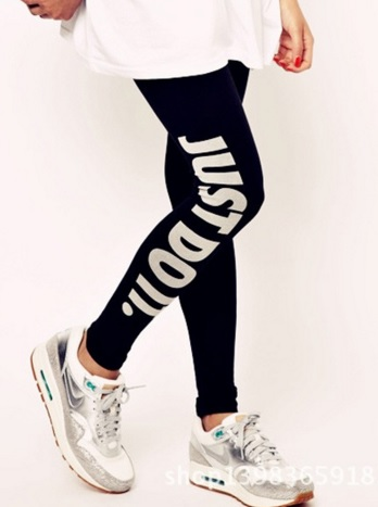 Black Just Do It Printed Leggings Tights