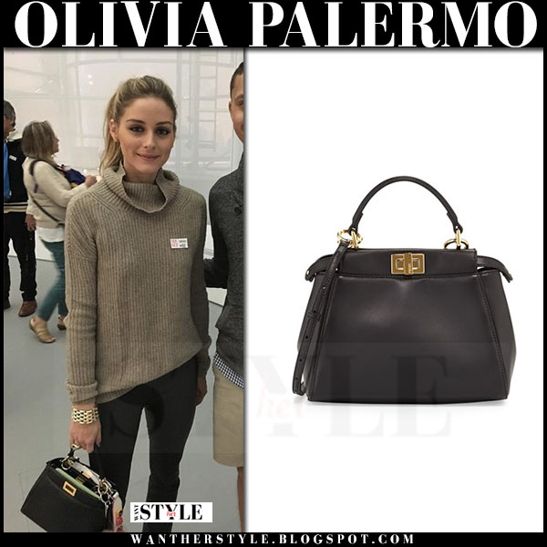 Olivia Palermo with black Fendi Peekaboo leather bag ~ I want her style - What celebrities wore ...