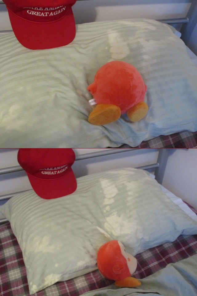 Waddle Dee plush plushie in bed pillow Make America Great Again hat