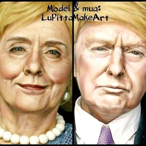 Disfraz de Carnaval de Donald Trump y Hillary Clinton