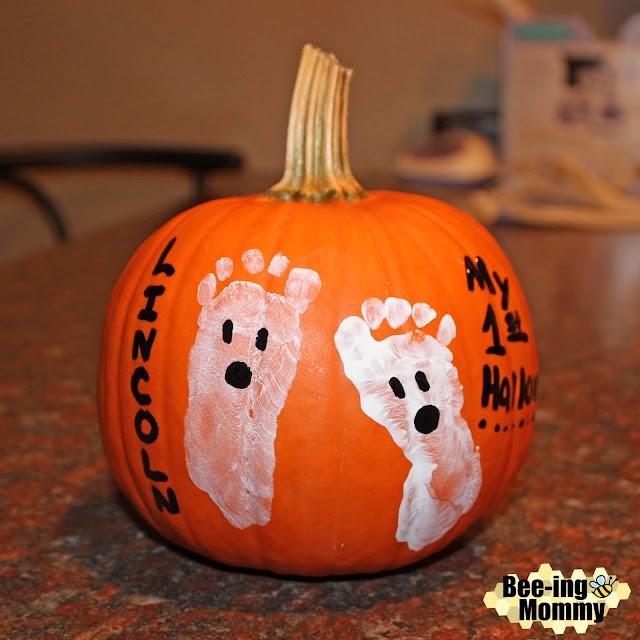 Halloween, ghost, ghost pumpkin, footprint pumpkin, baby footprint, baby footprint ghost, footprint ghost, baby footprint decor, baby footprint craft, pumpkin decorating, October baby, baby footprints, easy pumpkin decorating, pumpkin painting, personalize pumpkin, ghost pumpkin, baby ghost, baby ghost for prints, baby first pumpkin,