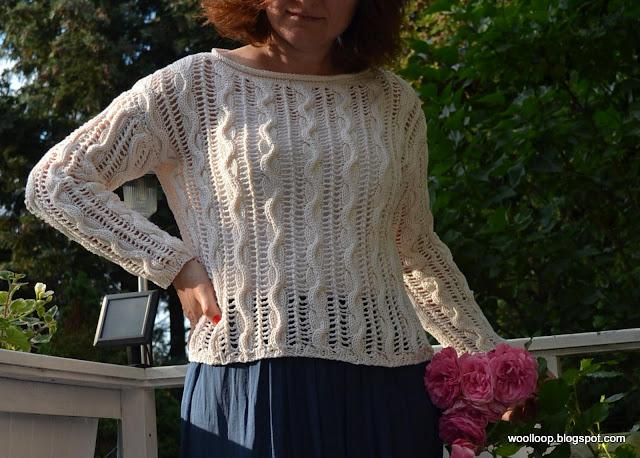 sweter ażurowy Muskat Drops ecru, róża Laguna