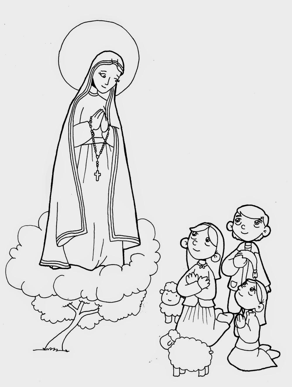 PARA COLOREAR: Tarjetas Virgen de Fátima