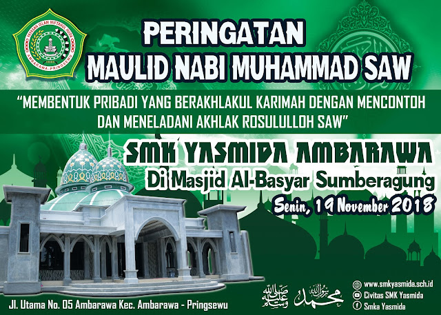 Desain Banner Panggung Maulid Nabi SMK Yasmida