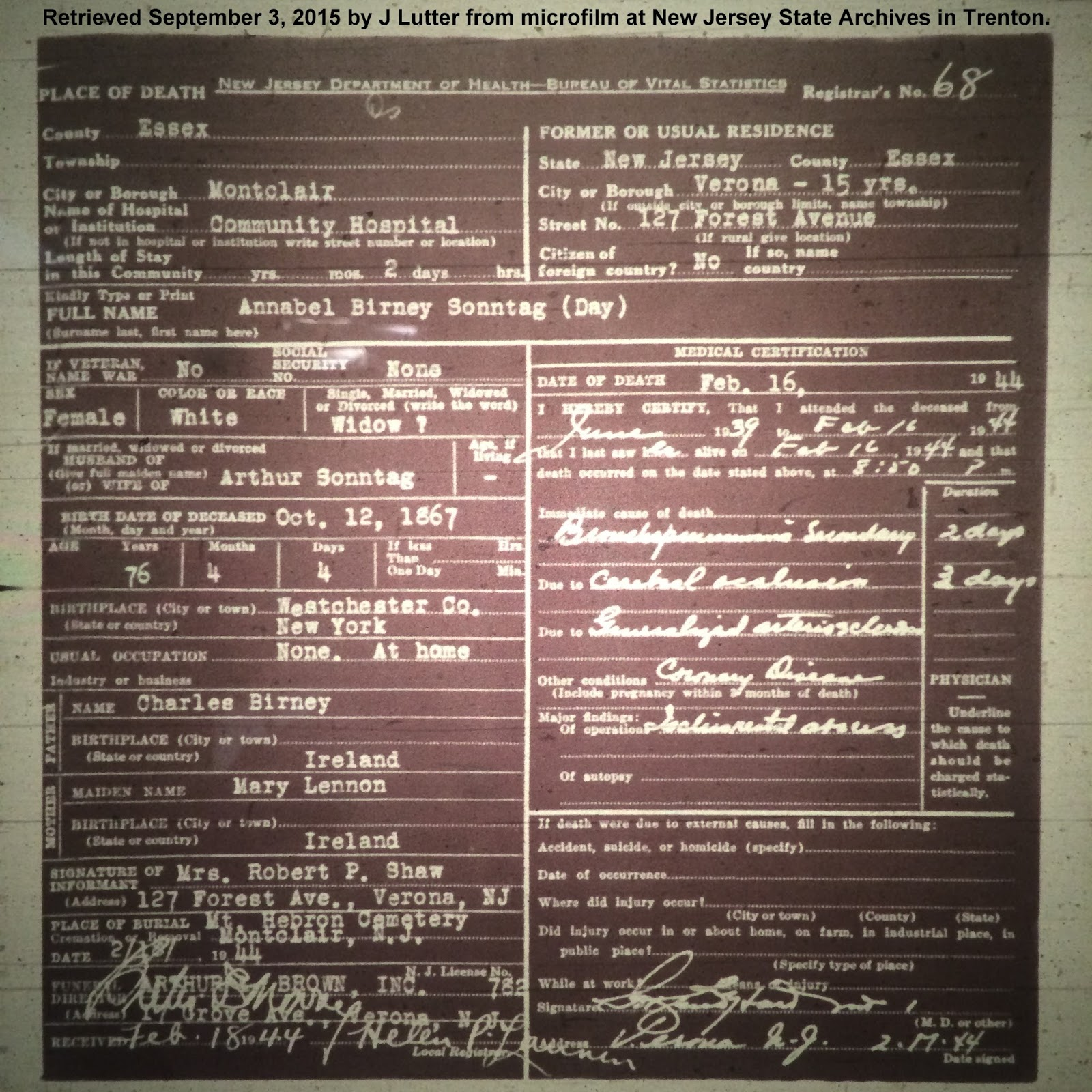Family history research by jody nyc marriage records 1908 1929 annabels entry in the 1910 census is elusive she may have been living with arthur sonntag in new york city aiddatafo Gallery