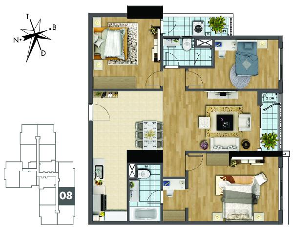 Mặt bằng căn hộ 08 tòa Sapphire 2