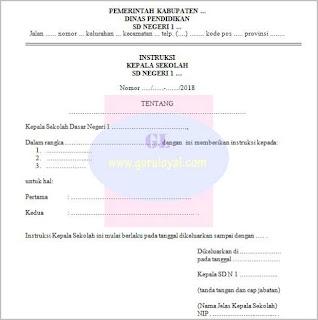 format surat instruksi kepala sekolah dasar untuk menginstruksikan berbagai hal