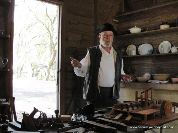 demo of 1780s carpentry at Destrehan Plantation in Destrehan, Louisiana