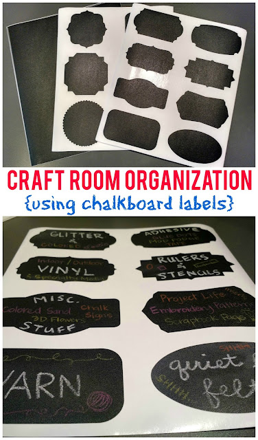 Sunshine and Munchkins: Craft Room Organization {using Chalkboard Labels}--an easy way to quickly organize your craft room!