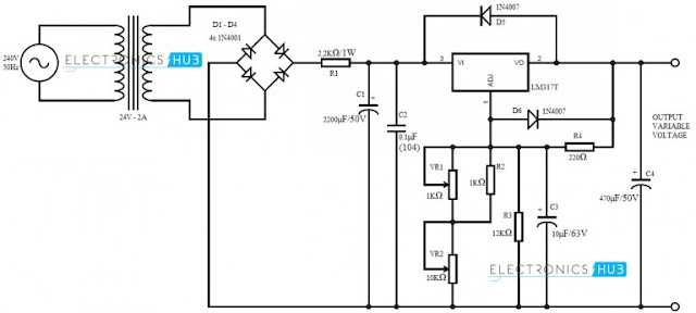 circuit schematic variable power supply from 1 2v to 30v