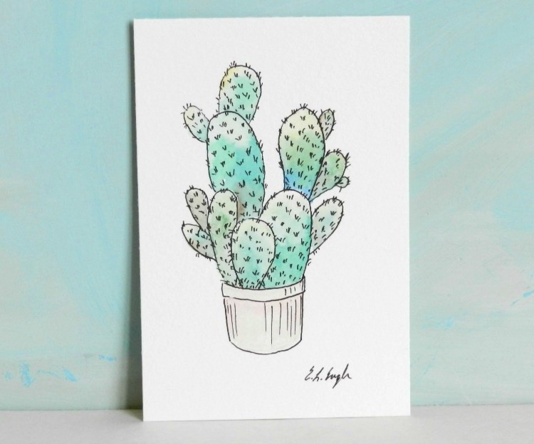Potted Cactus Illustration, Original Watercolor Painting by Elise Engh