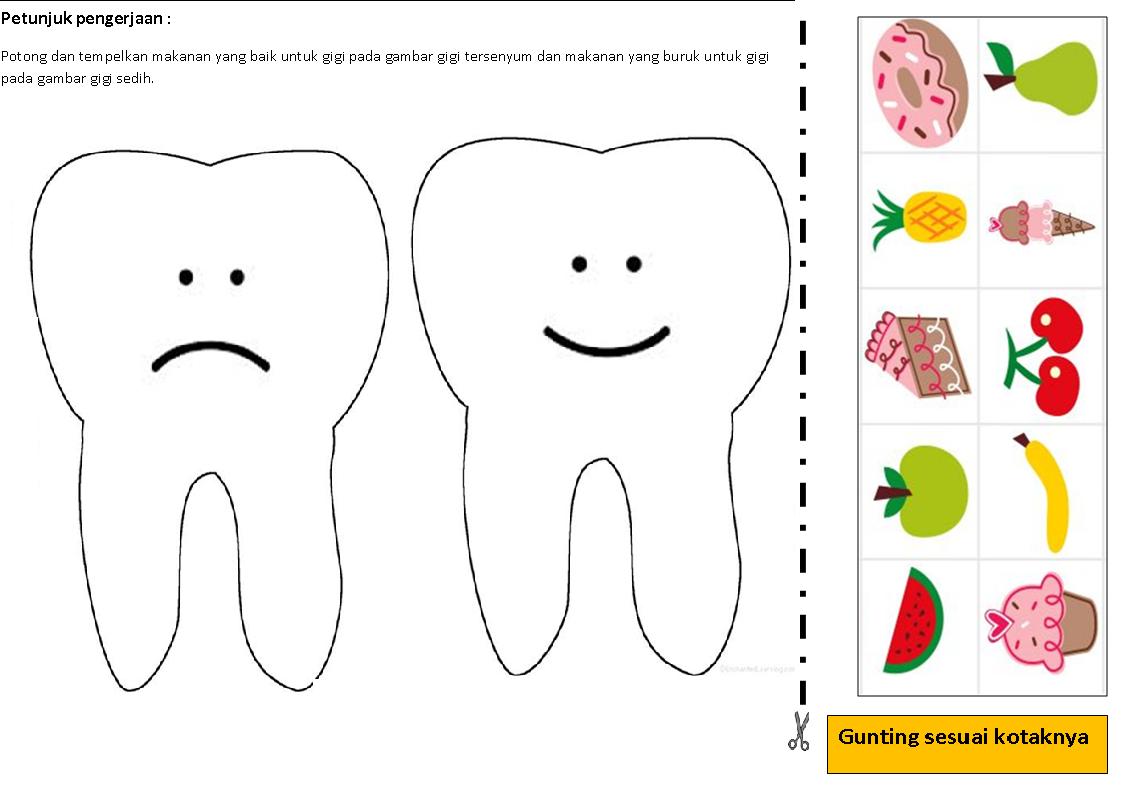 Pada kegiatan ini anak diminta untuk mewarnai gigi kuning dengan menggosokkan sikat gigi yang diberi cat berwarna putih minta anak menggosok sesuai arah