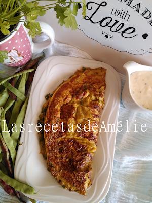 Tortilla, huevo, judías, cebolla, queso