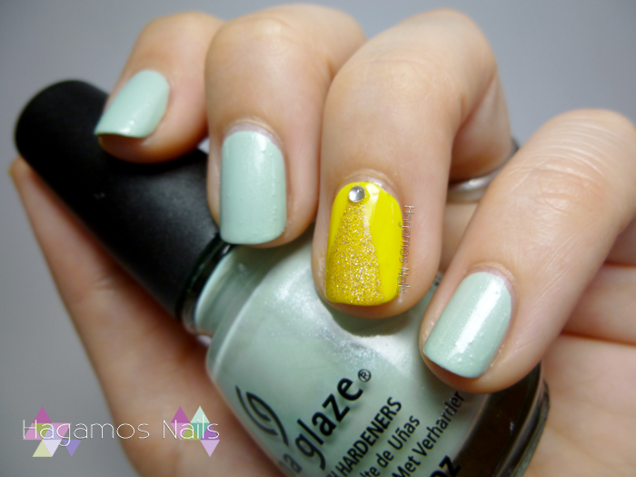 Nail Art verde y amarillo. Campanilla Reto Fairy