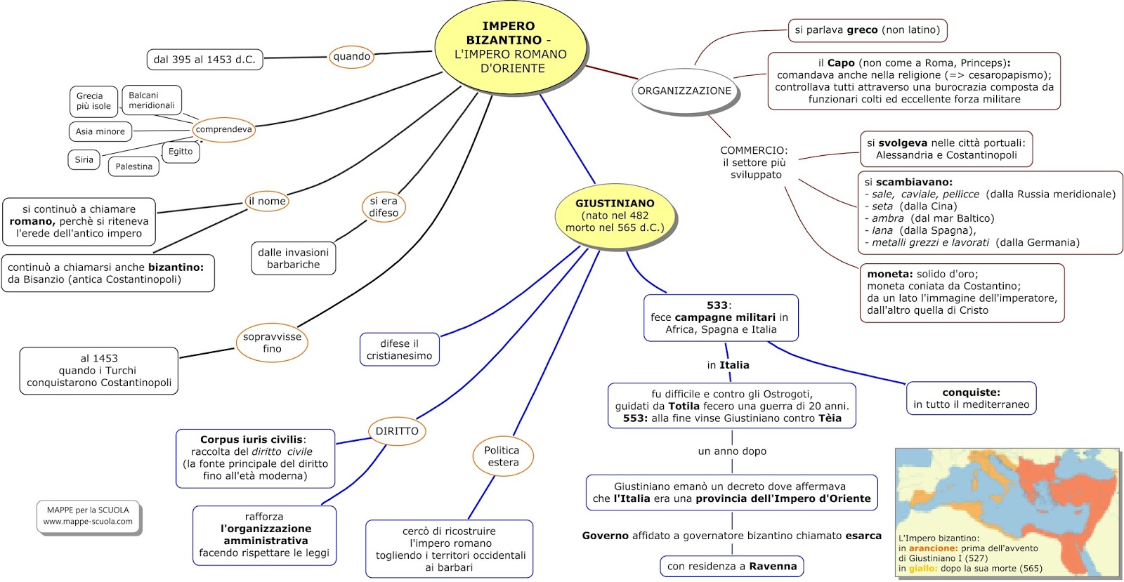 Conosciuto MAPPE per la SCUOLA: IMPERO BIZANTINO - GIUSTINIANO KY02