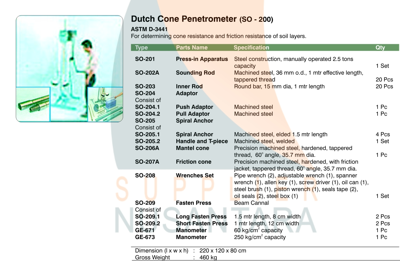 Dutch Cone Penetrometer Sondir 25 Ton So 200 Supplier Nusantara Integrated Testing And Measuring Unit Constant Isc2000 Product Description