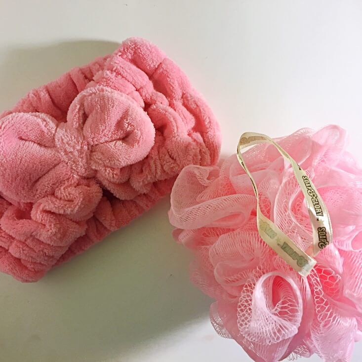Soap & Glory Pink Big Loofah and headband