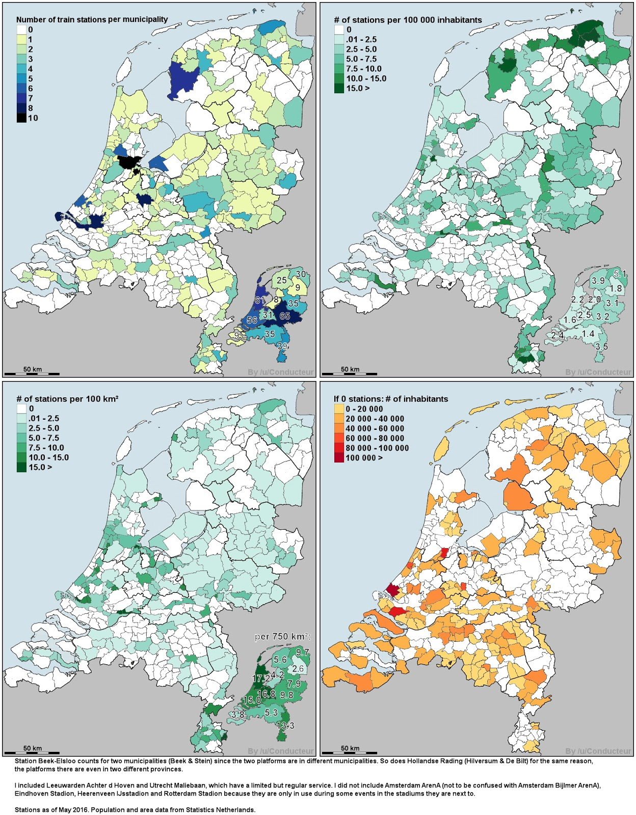 Train station density in the Netherlands