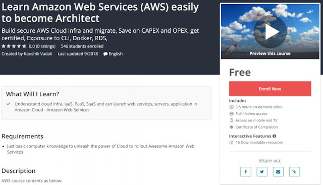 [100% Free] Learn Amazon Web Services (AWS) easily to become Architect