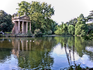 The 18th century Temple of Aesculapius is an attraction in the Villa Borghese gardens in Rome