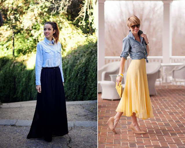 Tucked Denim Shirt Into Your Skirt Or Tie It Over Your Skirt