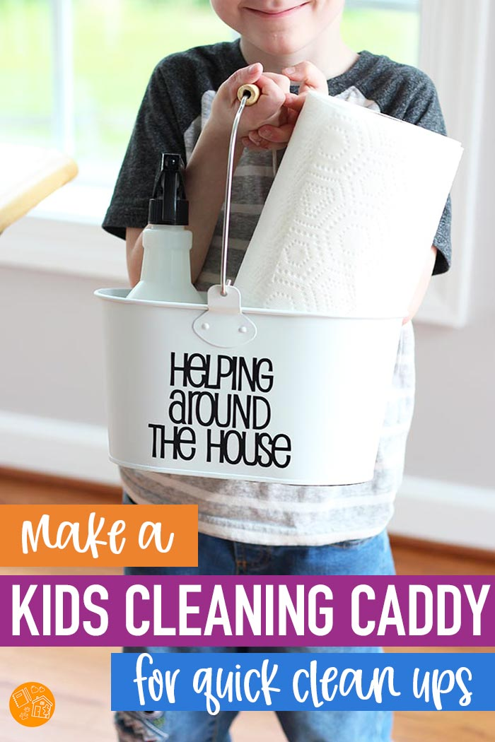 Make a kids cleaning caddy for quick and easy clean ups! This is a must have for summer break to help your kids take care of their own messes and keep you sane. #ad #PutASquareThere