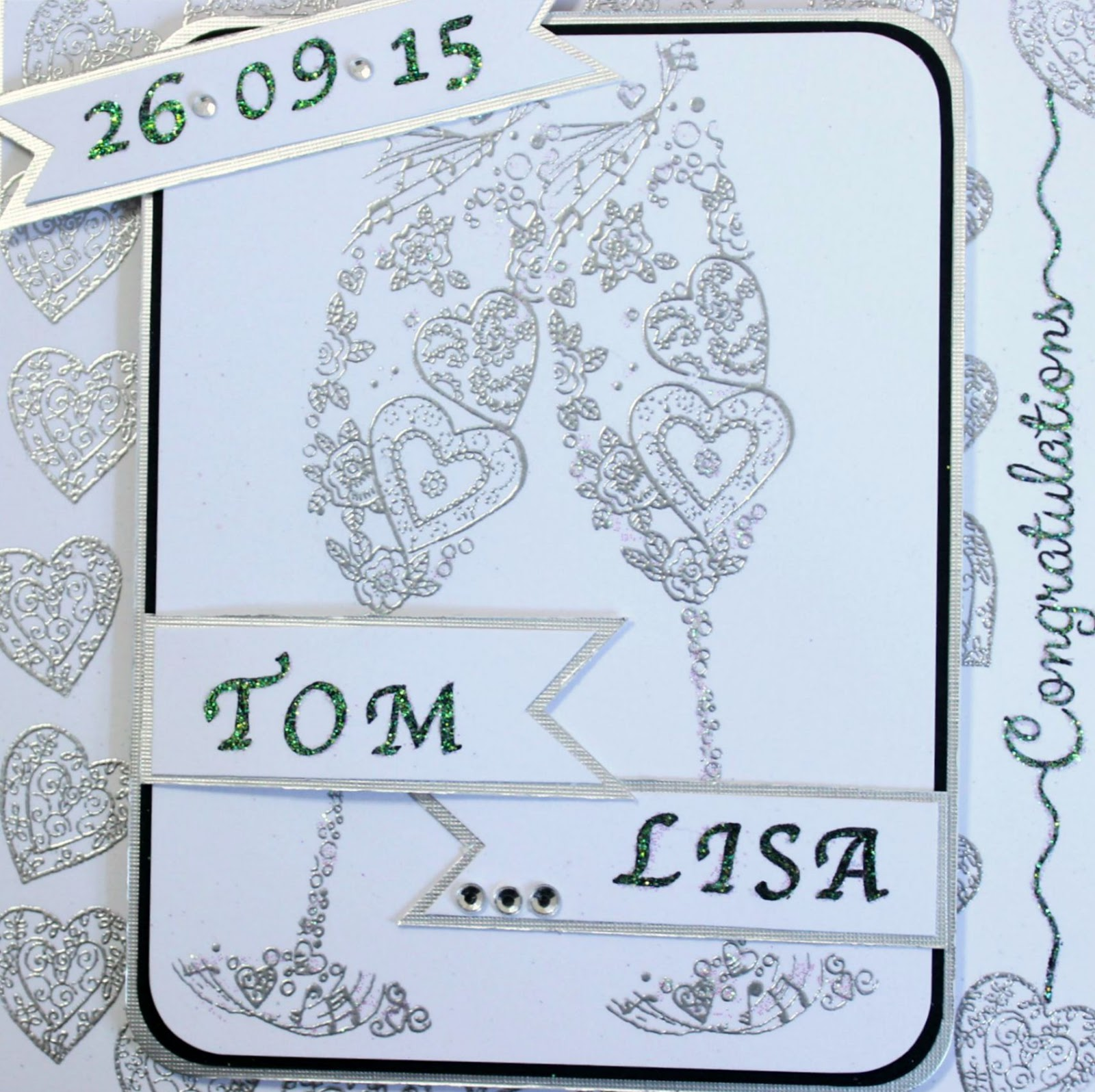 As With Any Other Stamping Embossing Can Be Used For A Main Image Well Backgrounds I Have Embossed Both The Champagne Glasses And Hearts In