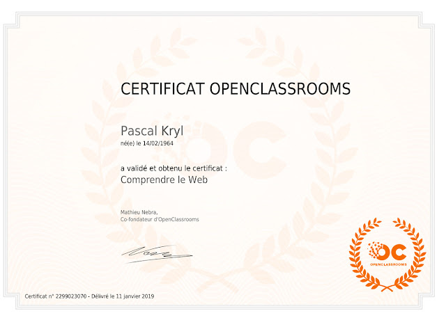 carificat OpenClassrooms Comprendre le web