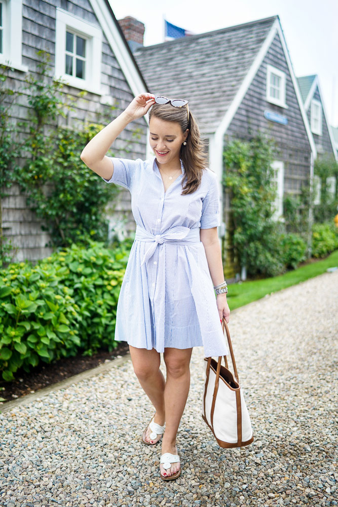 Krista Robertson, Covering the Bases, Travel Blog, NYC Blog, Preppy Blog, Style, Women's Fashion Blog, Fashion, Fashion Blog, Summer Must Haves, Summer Fashion, Nantucket, Cape Cod, Massachusetts, Shirtdress, Seersucker Dress, Preppy Outfit, Nantucket Style