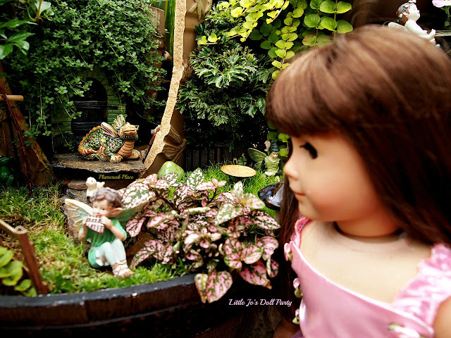 American girl Samantha, Broken Pot Fairy Garden,