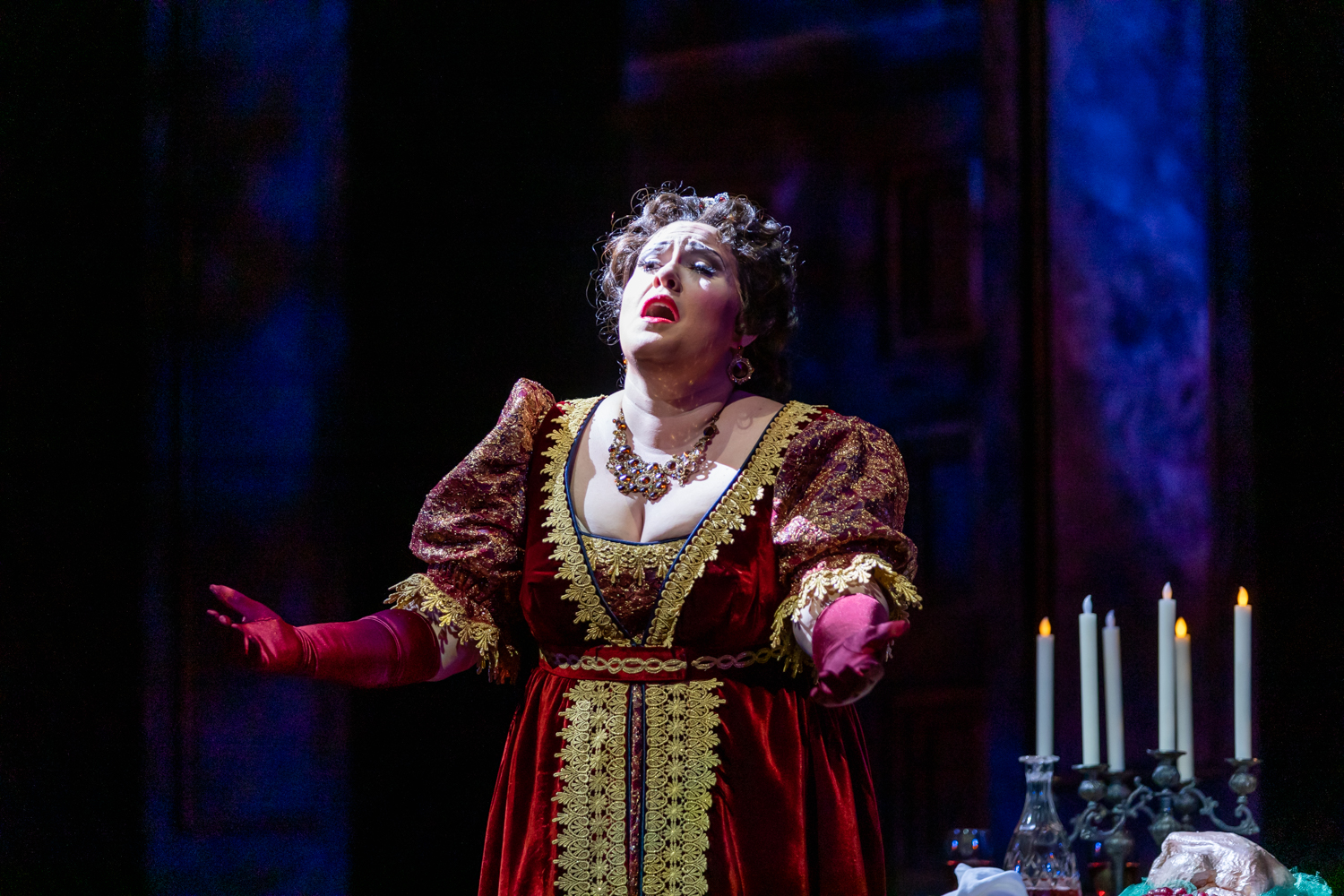 IN REVIEW: soprano ALEXANDRA LOBIANCO in the title rôle of North Carolina Opera's April 2019 of Giacomo Puccini's TOSCA [Photograph by Eric Waters, © by North Carolina Opera]