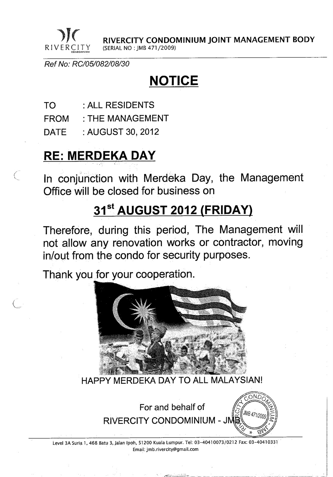 MyRiverCity: OFFICE CLOSE FOR MERDEKA DAY