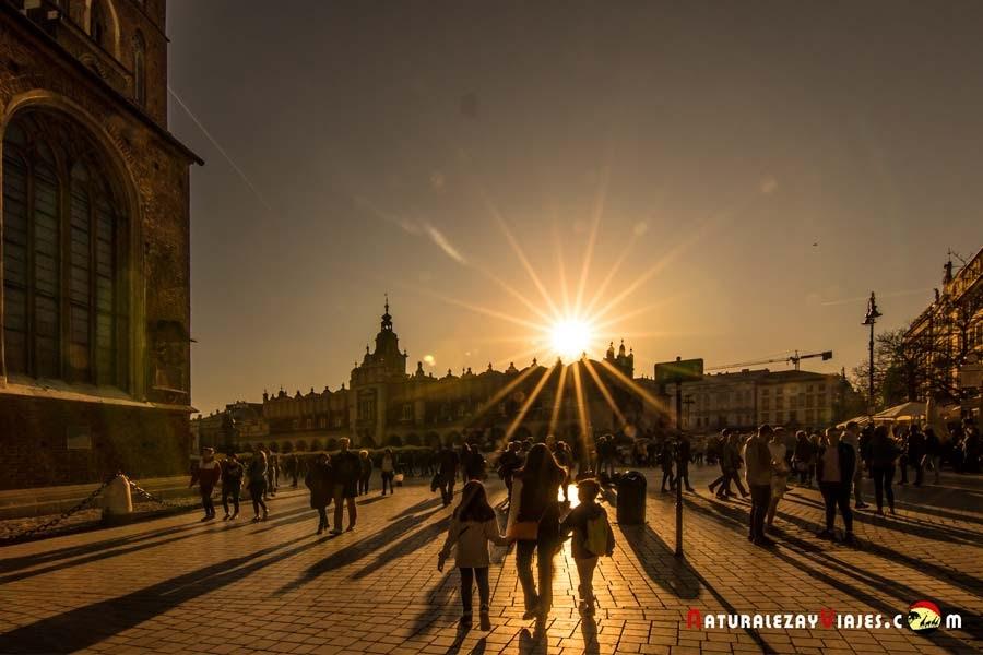 Atardecer centro de Cracovia