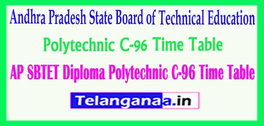 AP SBTET Diploma Polytechnic C-96 Time Table 2018