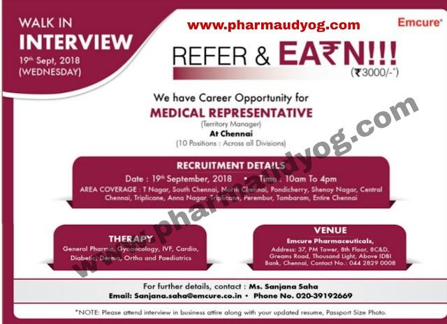 Emcure Pharma   Walk-In for Medical Representative   19th September 2018   Chennai