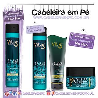 Produtos liberados da linha Ondulele Curly & Wavy - Vitiss (Shampoo Low Poo) - (Cowash, Creme para Pentear e Máscara Liberados para No Poo)