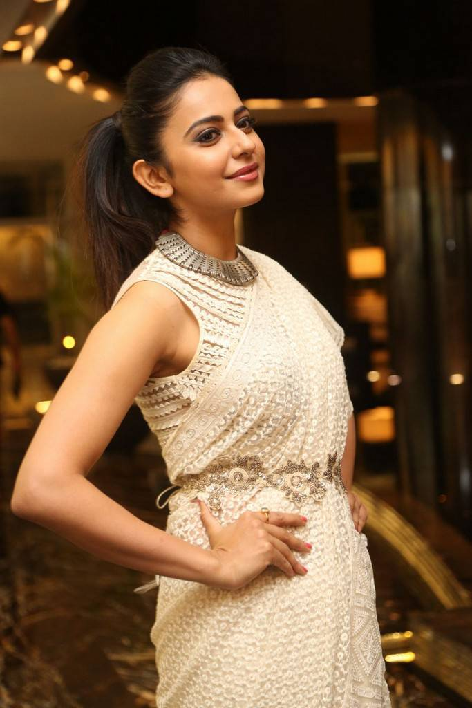 Rakul Preet Singh In White Saree At Movie Pre Release