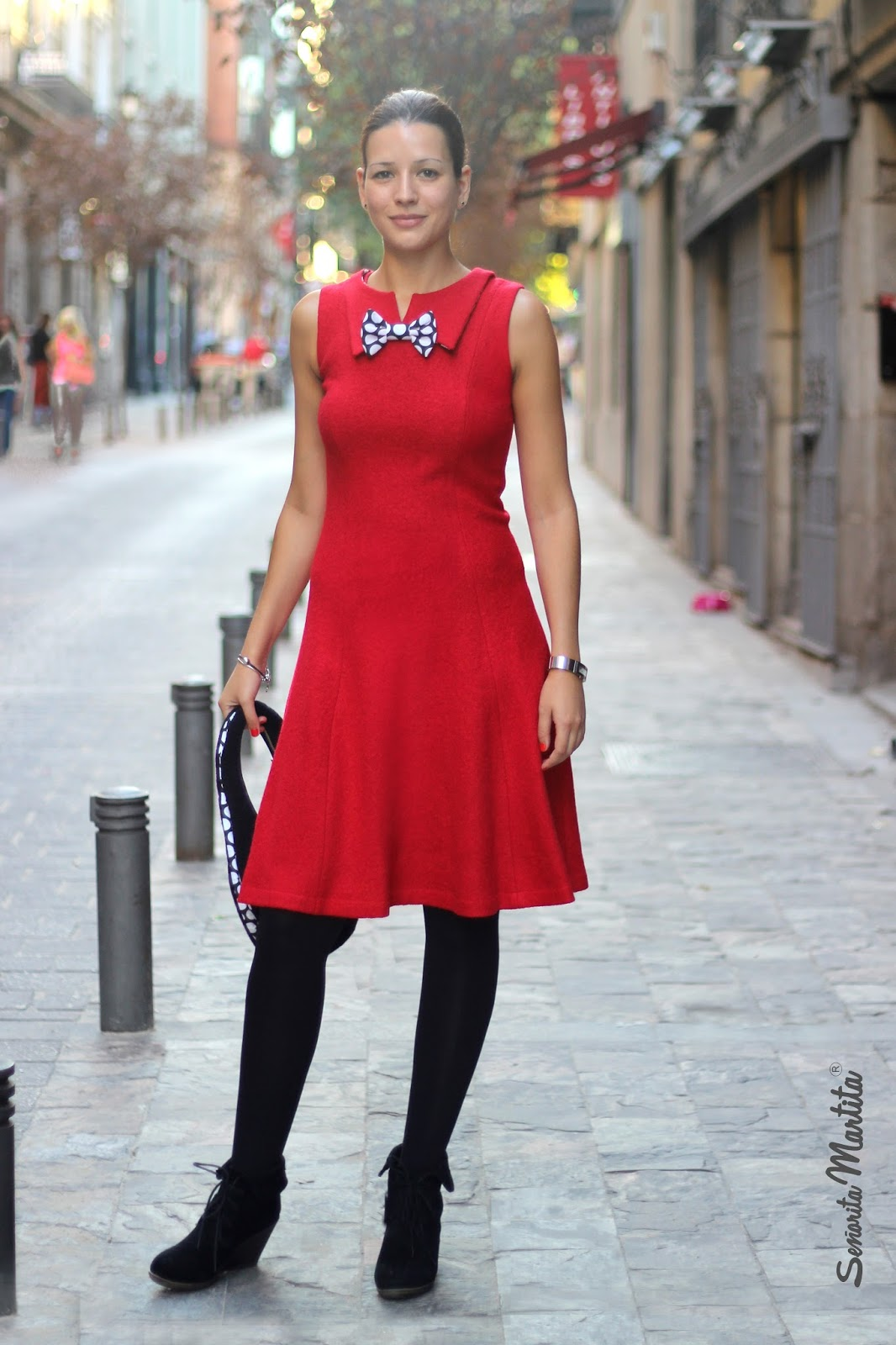 red wool boucle dress with papillon by Senorita Martita