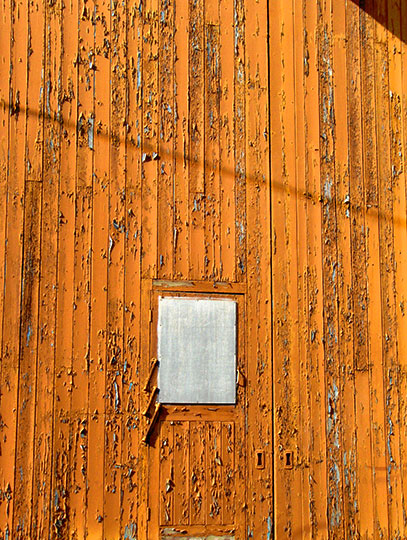 orange door, urban photography, urban decay, cracked paint, industrial, art, contemporary, Sam Freek,