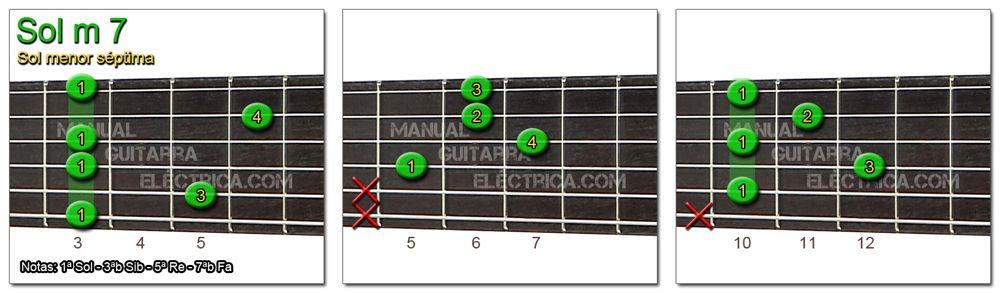 Acordes Guitarra Sol menor Séptima - G m 7